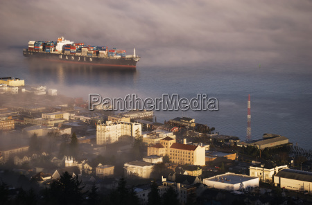 a container ship emerges from the
