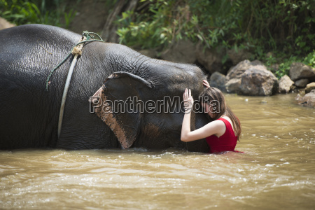 girl with an elephant in the