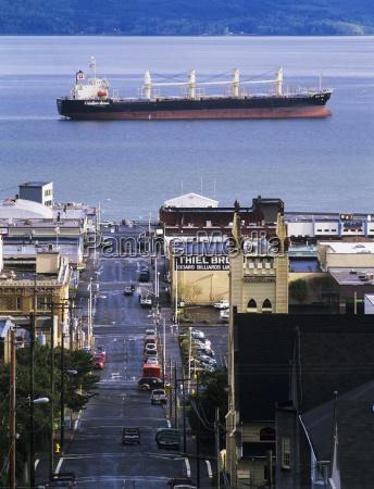 a ship anchors off the astoria