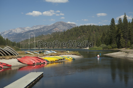 boat dock and kayaks lined up