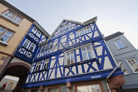 blue house half timbered house built