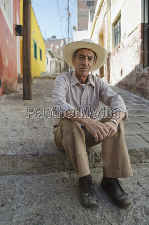 portrait of senior man wearing cowboy