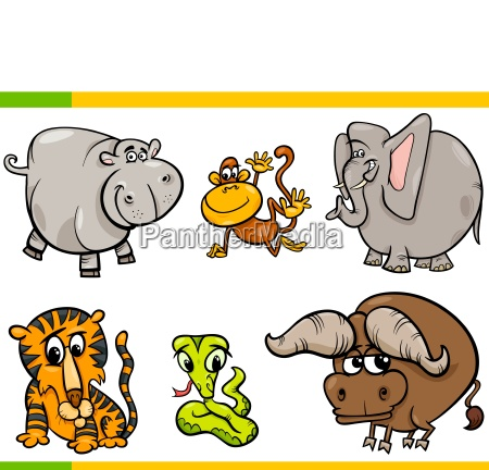 cartoon wild animals funny characters set