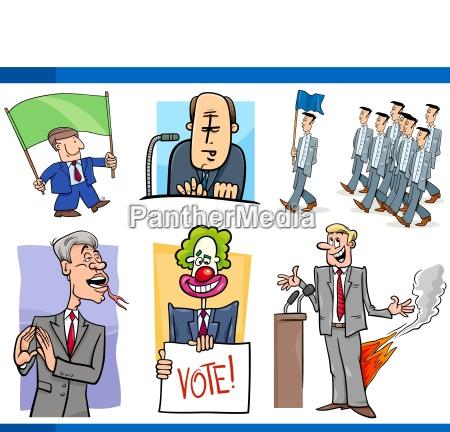 set of politics and politician cartoon