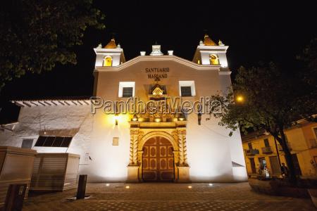 santuario mariano at night cuenca azuay