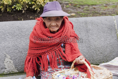 old woman selling sweets quito pichincha