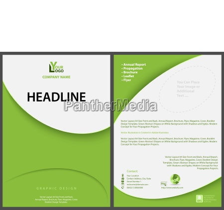 green abstract flyer template with modern