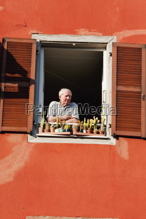 man looking from a window strasbourg