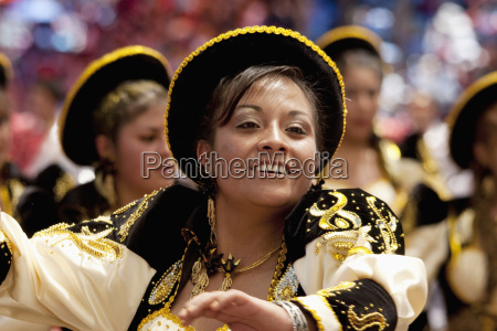 caporales dancer in the procession of