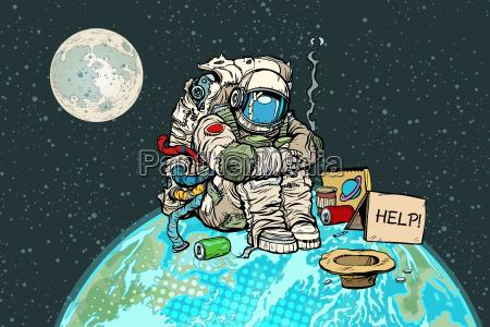 armer hungriger astronaut auf dem planeten