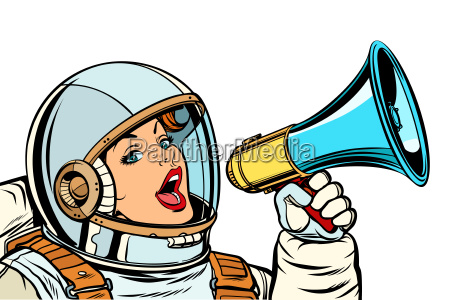 frau astronaut mit megafon isolat auf