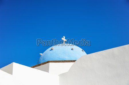 church with blue dome roof megalochori