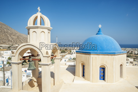 church with blue dome roof and