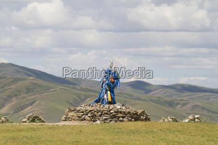 ovoo with prayer flags karakorum kharkhorin