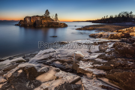 lake superior at dusk thunder bay