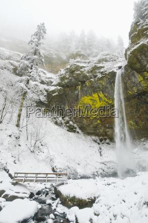 elowah falls and fresh snow in