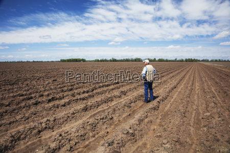 farmer standing in a conventionally tilled