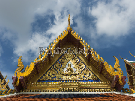 ornate and colourful peaked roofline of