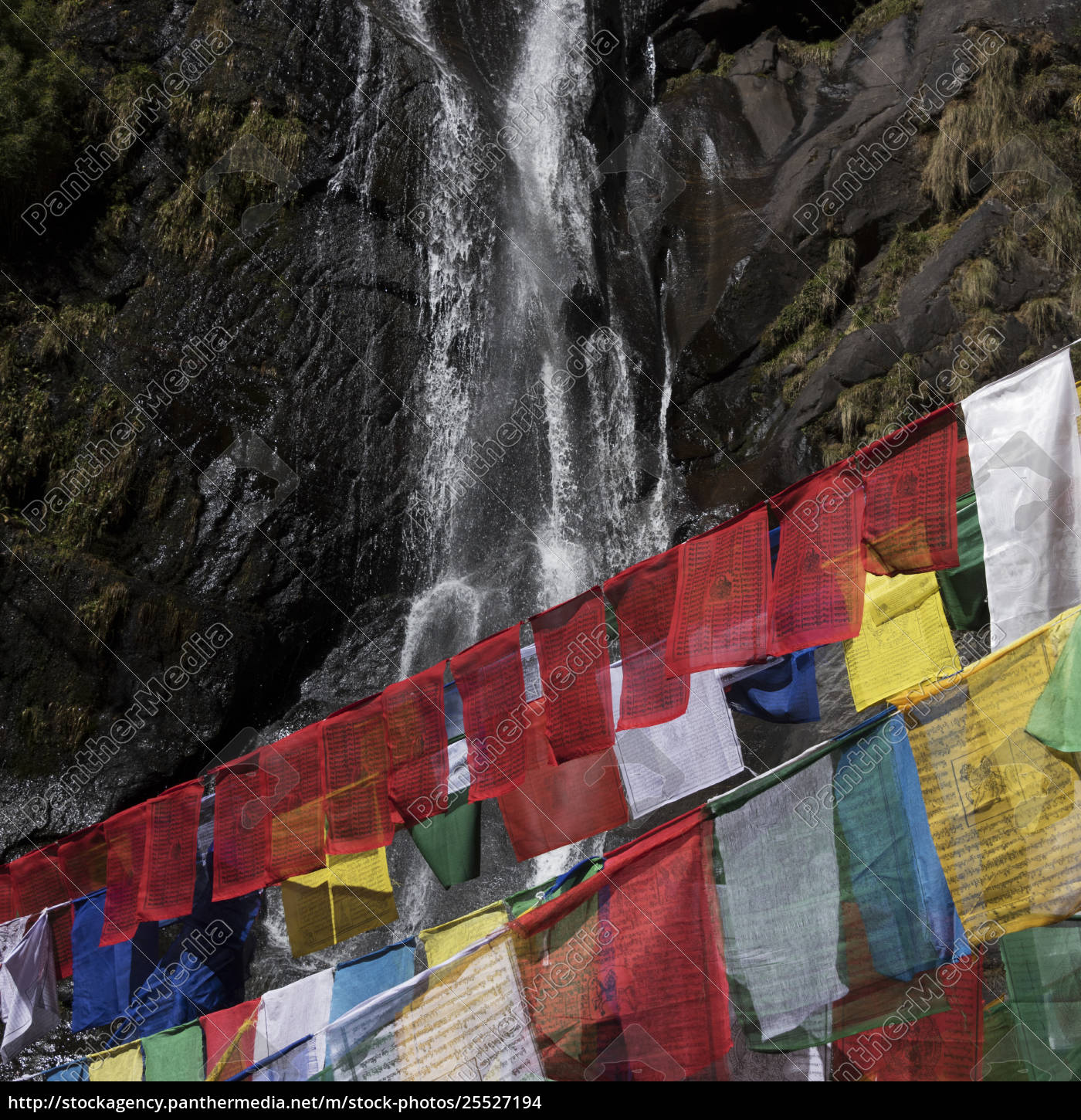 colourful, prayer, flags, and, a, waterfall - 25527194
