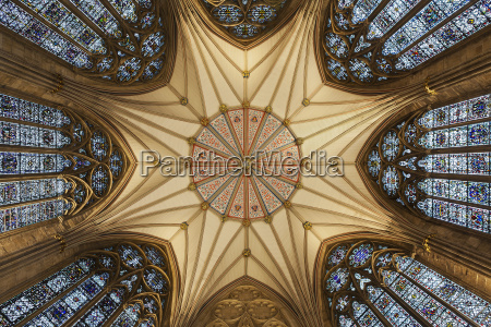 architectural detail of york minster ceiling
