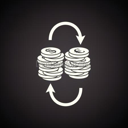 dollar euro coins stack icon