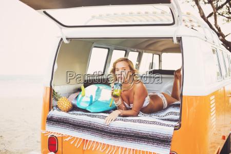 beach lifestyle beautiful surfer girl relaxing