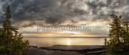 storm clouds over lake superior thunder