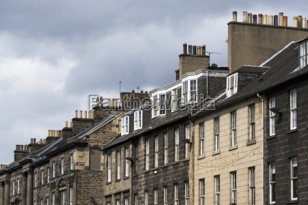 residential buildings with chimneys on the