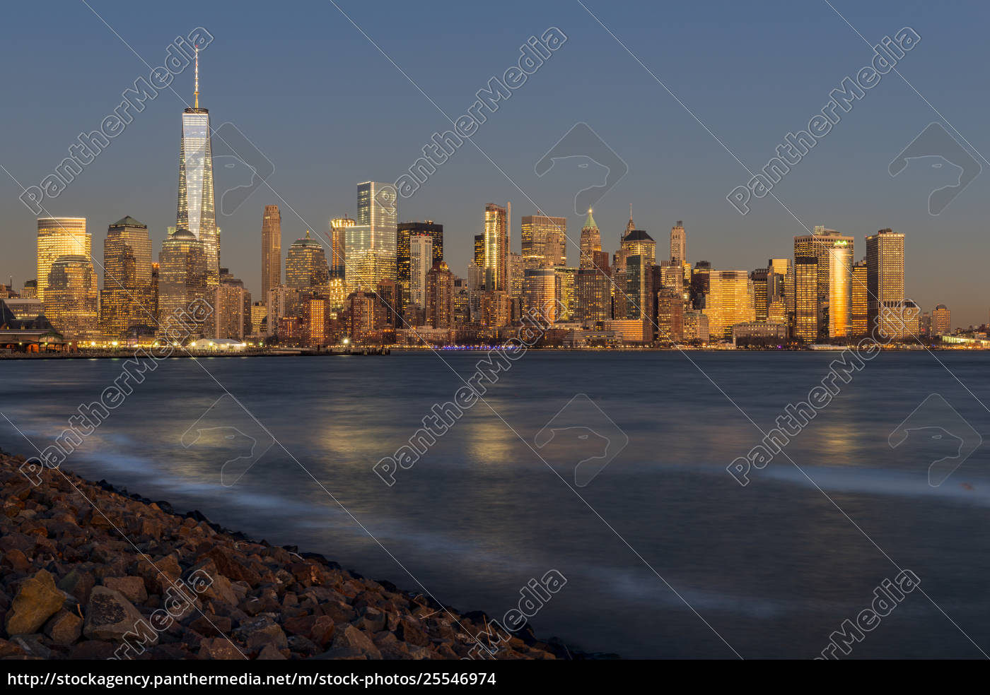 new, york, city, skyline, bei, sonnenuntergang, liberty - 25546974
