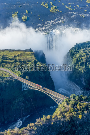 aerial view of victoria falls behind
