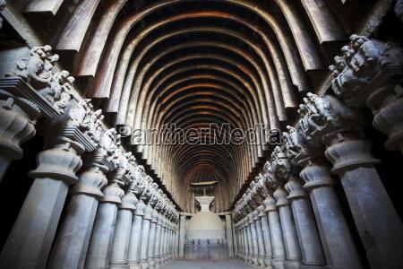 gewölbte, säuleninnere, des, 5., c, karla, buddhistischen - 25551530