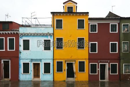 colourful houses in a row venice