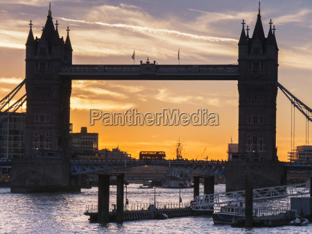 silhouette of tower bridge at sunset