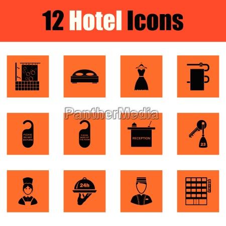 set of twelve hotel icons