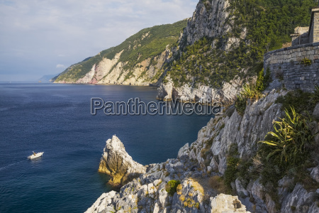cliff and old ruins over the