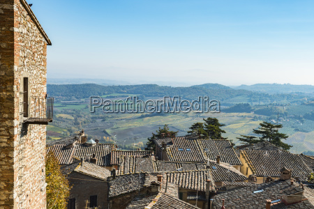 panoramic view of colourful tuscany fields