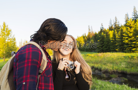 young couple walking together in a