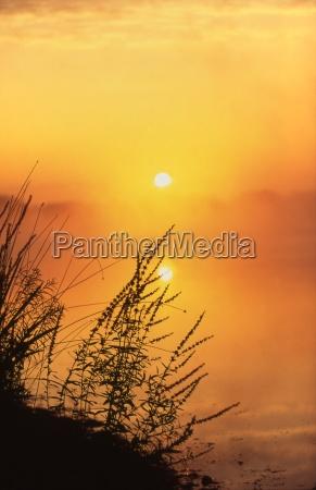 silhouette at sunset lake wilcox moraine