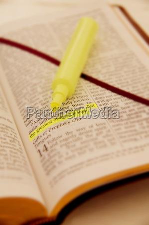 ein hervorgehobener satz in der bibel