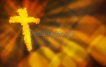 abstract background with a fiery cross