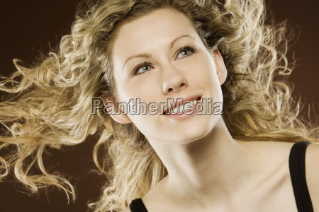 woman with hair blowing