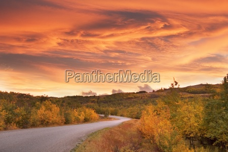 sunset over road in autumn