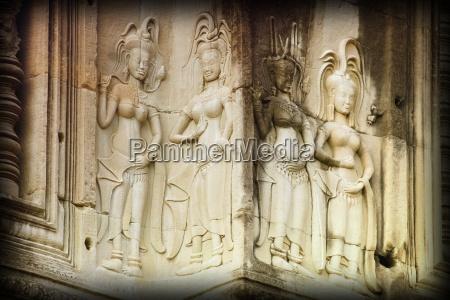 bas reliefs of hindu myths at