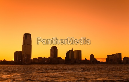 jersey city at sunset in new