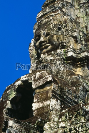 detail of stone carvings the bayon