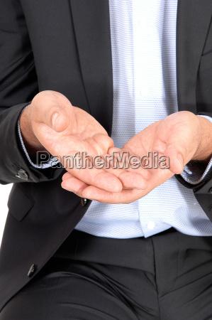 man holding his hands open closeup
