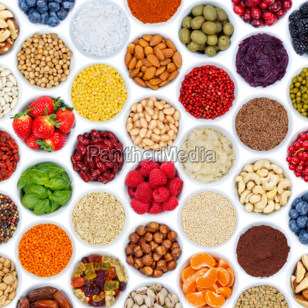 fruit berries vegetable collection background nuts