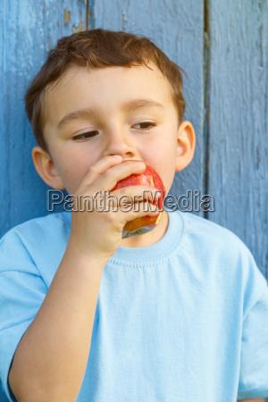 apple fruits child little boy portrait