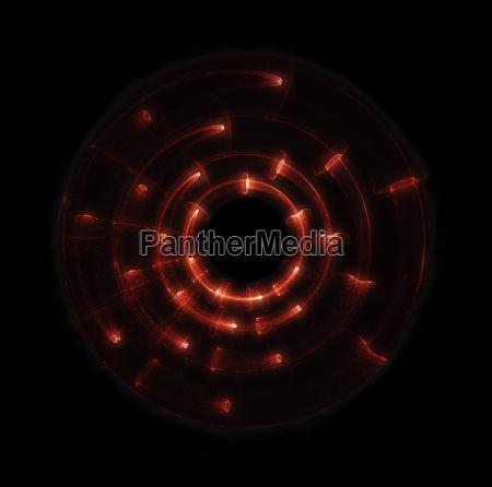 futuristic glowing red hud over black