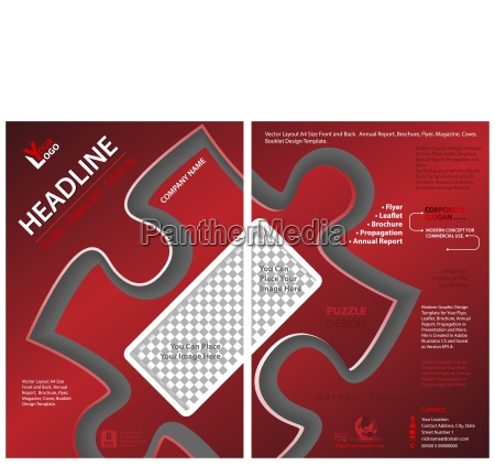 red flyer template with puzzle shape